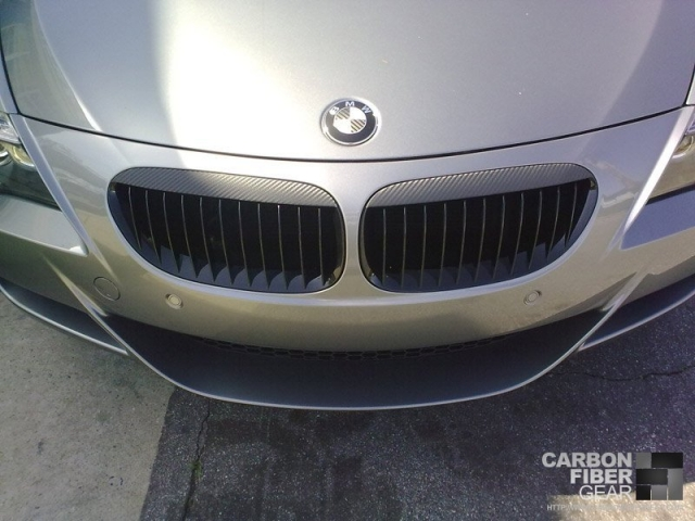 BMW M6 with 3M carbon fiber DI-NOC vinyl installed on front bumper