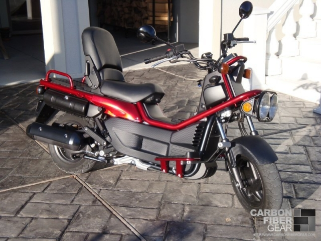 Completed Honda Big Ruckus wrapped in 3M DI-NOC carbon fiber vinyl