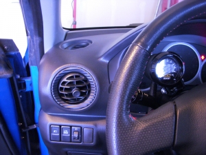 Subari STI interior with 3M carbon fiber vinyl