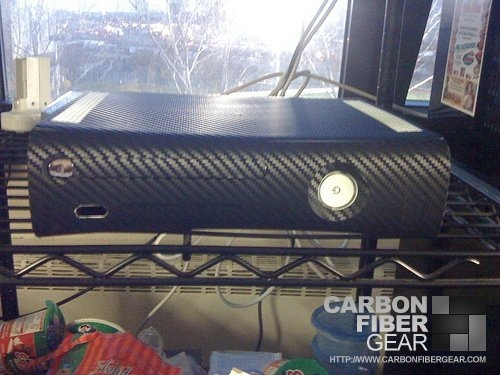 XBox 360 wrapped in 3M carbon fiber vinyl
