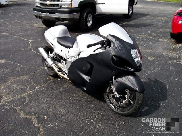 Hayabusa wrapped in 3M carbon fiber DI-NOC vinyl