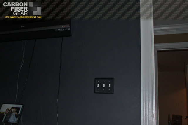 Light switch panel covered in 3M carbon fiber DI-NOC
