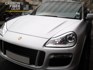 Porsche Cayenne with full white carbon fiber wrap
