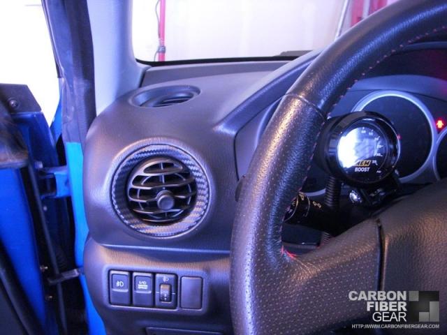 Subari STI interior with 3M carbon fiber vinyl